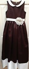 Flower Girl FORMAL FANCY Satin Dress Gown LADYBUG COLLECTION Brown White 12 NEW