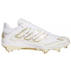 adidas Afterburner 7 Gold Metal Baseball Cleats Men's White EG5631 Metal Studs