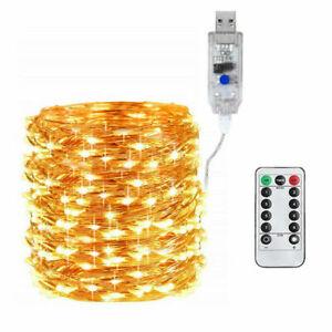 66FT LED String Light Strip Fairy Firefly Light Waterproof USB Support 200 LED