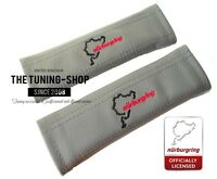 """2x Seat Belt Covers Pads Grey Leather """"Nürburgring"""" Embroidery"""