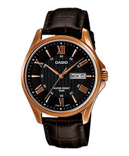 Casio Men's Rose Tone Leather Band Day Date Roman Black Dial Watch MTP-1384L-1AV