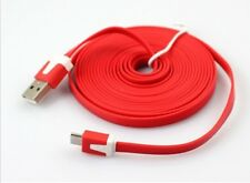 samsung mobile charger lead 3 METRE STRONG FLAT NOODLE TYPE  NOTE,S2,S3,S4 RED