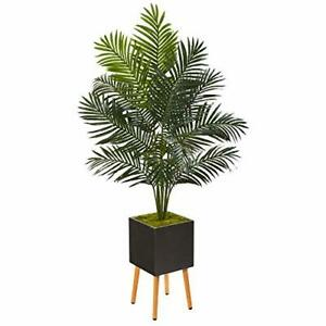 Nearly Natural 65in. Paradise Palm Artificial Black Planter with Stand Silk T...