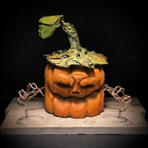 Hand Crafted Halloween Rotten Pumpkin Wood Carving Chainsaw Carving Shrum