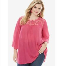 New Roamans Plus Size Pink Lace Crochet Tunic Blouse Top Shirt 26 4X