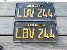 1963 63 CALIFORNIA CA LICENSE PLATE PAIR DMV YOM CLEAR NICE SET LBV 244