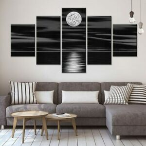 5 Panel Framed Black Moon Ocean Abstract Decor Canvas Picture Wall Art HD Print