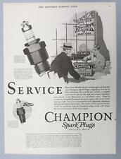 Original 1927 Champion Spark Plug Photo Ad SEVICE 100,000 DEALERS & GARAGES
