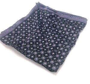 $95 Bloomingdales Mens Casual Pocket Square Black Gray White Floral Handkerchief