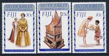 1977 FIJI SILVER JUBILEE QUEEN ELIZABETH II SET OF 3 FINE MINT MNH