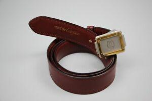 MUST DE CARTIER Vintag Mens Authentic Bordeaux Leather Belt