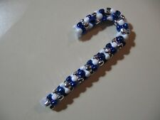 """3.5"""" Candy Cane: Beaded Ornament (Dallas Cowboys colors) NEW handmade"""