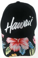Hawaii Embroidered Black & Floral Hawaiian Strapback Cap Hat