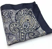 $115 Countess Mara Mens Paisley Black White Handkerchief Classic Pocket Square