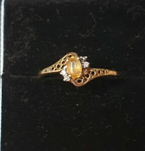 Very Dainty 9ct gold citrine and diamond ring!