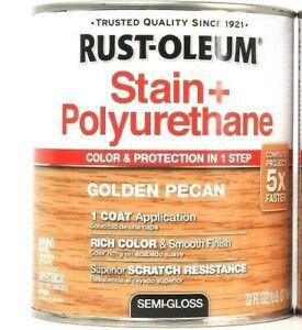 1 Can Rust-Oleum 32 Oz Stain & Polyurethane 344671 Golden Pecan Semi Gloss