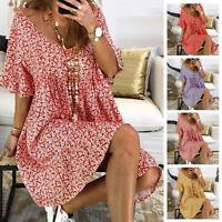 Womens Boho Dress Round Neck Loose Baggy Short Bell Sleeve Print Beach Sundress