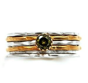 Two Tone Peridot 925 Solid Sterling Silver Ring Jewelry Sz 9, ED29-4