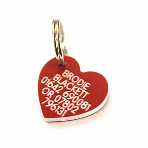 Engraved Plastic pet ID tag mini heart 22mm x 21mm Dog or Cat 7 colours