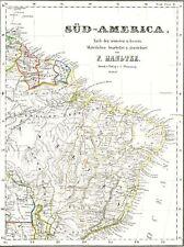 🎄🕯🎄🕯🎄🕯🎄175 JAHRE alte Landkarte Südamerika Brasilien Guayana Surinam 1844