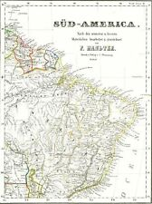 Real 174 anos velho mapa BRASIL - Britânico e Guiana Francesa - Suriname 1844