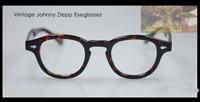 Vintage eyeglasses Johnny Depp solid acetate glasses mens anti blue clear lens