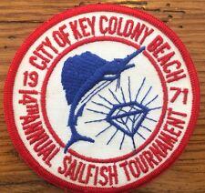Vintage City Of Key Colony Beach Sailfish Tournament Patch 1971 Florida Keys