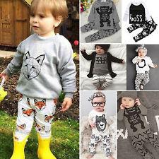 2PCS Cute Toddler Newborn Baby Boys Girls Top T-shirt + Pant Outfits Set Clothes