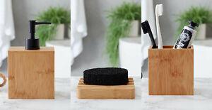 New Elegant Design Bamboo Natural Lotion Dispenser, Tumbler & Soap Dish M-21