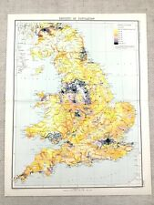 1890 Antique Map of England Population Density Choropleth 19th Century Original