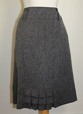 """NEW Dressbarn """"the back french pleat"""" Woven Charcoal Pencil Skirt Sz 14"""