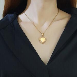 Love Heart Pendant Women's Necklace Photo Locket Cubic Zirconia Wedding Jewelry