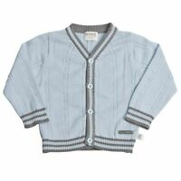 Baby Boys Cardigan Sweater Size 18 Months Blue Gray Stripe Long Sleeve Kanz New
