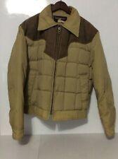 TEMPCO Mens Size L Light Brown Vintage Zip Up Goose Down Puffer Jacket