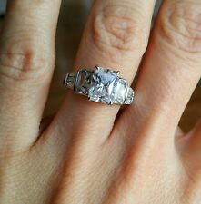 Cubic Zirconia and Sterling Silver engagement ring, size 8