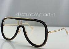 Fendi Aviator Sunglasses FF M0068/S Gold & Black Frame Clear Lens 80799 57mm NEW