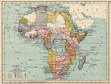 COLONIAL AFRICA 1897. Showing colonies & spheres of influence 1907 old map