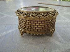 VINTAGE  Ornate Gold Plated Florenza Footed Jewelry Vanity Trinket Box