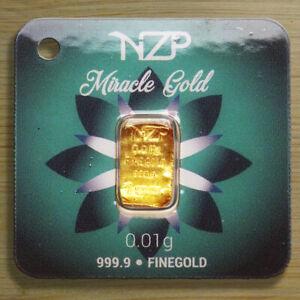 GOLDBARREN 0,01 Gramm 999,9 Feingold NZP Gold Barren 0,01g 24 Karat Geschenk NEU