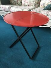 Vintage Midcentury Round Foldable Portable Metal Side Snack Patio TV Table Red