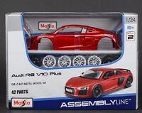 Maisto 1:24 Audi R8 V10 PLUS RED Assembly DIY Racing Car Diecast MODEL KITS