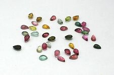 37 Piece 8.00 Ct Natural Multi Tourmaline Gemstone 5X3mm Pear Cabochon Lot S933