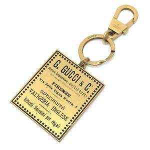UNUSED GUCCI 495420 Plate Antique Label Vintage design Key Holder Metal Gold