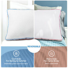 Warm Cool Reversible Bed Pillow Premium Plush Filling Pillow Queen Standard Twin