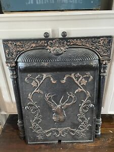 Late 1800s Cast Iron Fireplace surround and summer cover Elk Motif Victorian