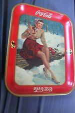 Vintage 1941 Coca Cola Skating Lady Serving Tray Original