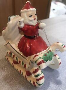 Vintage Made in Japan Ceramic Santa On Sled MARKED 69 CENTS