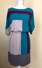 Suzi Chin Maggy Boutique Womens Sz 8 Color Block Dress Green Gray Purple Spring