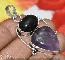 Amethyst & Black Onyx Gemstone Pendant 925 Silver Overlay U302-A274