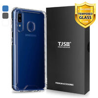 For Samsung Galaxy A20 A30 A50 Phone Case TJS Agile Clear Cover +Tempered Glass